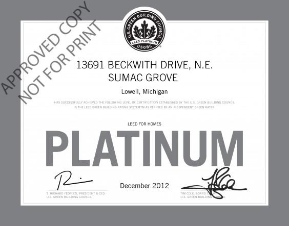 Sumac Grove certificate