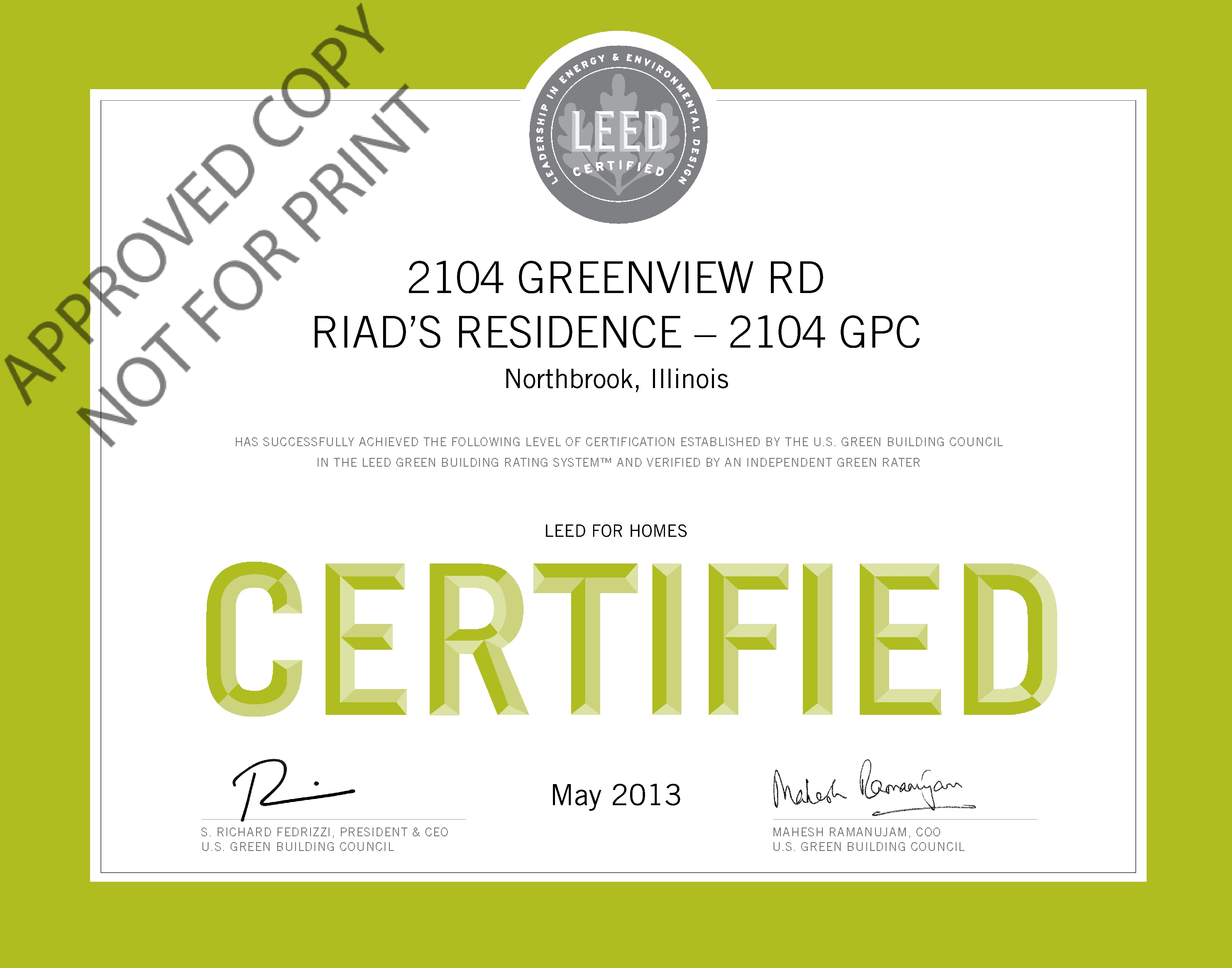 Leed certified archives greenhome institute 0010644179 certificate 1betcityfo Choice Image