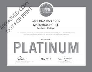 Matchbox House Certificate