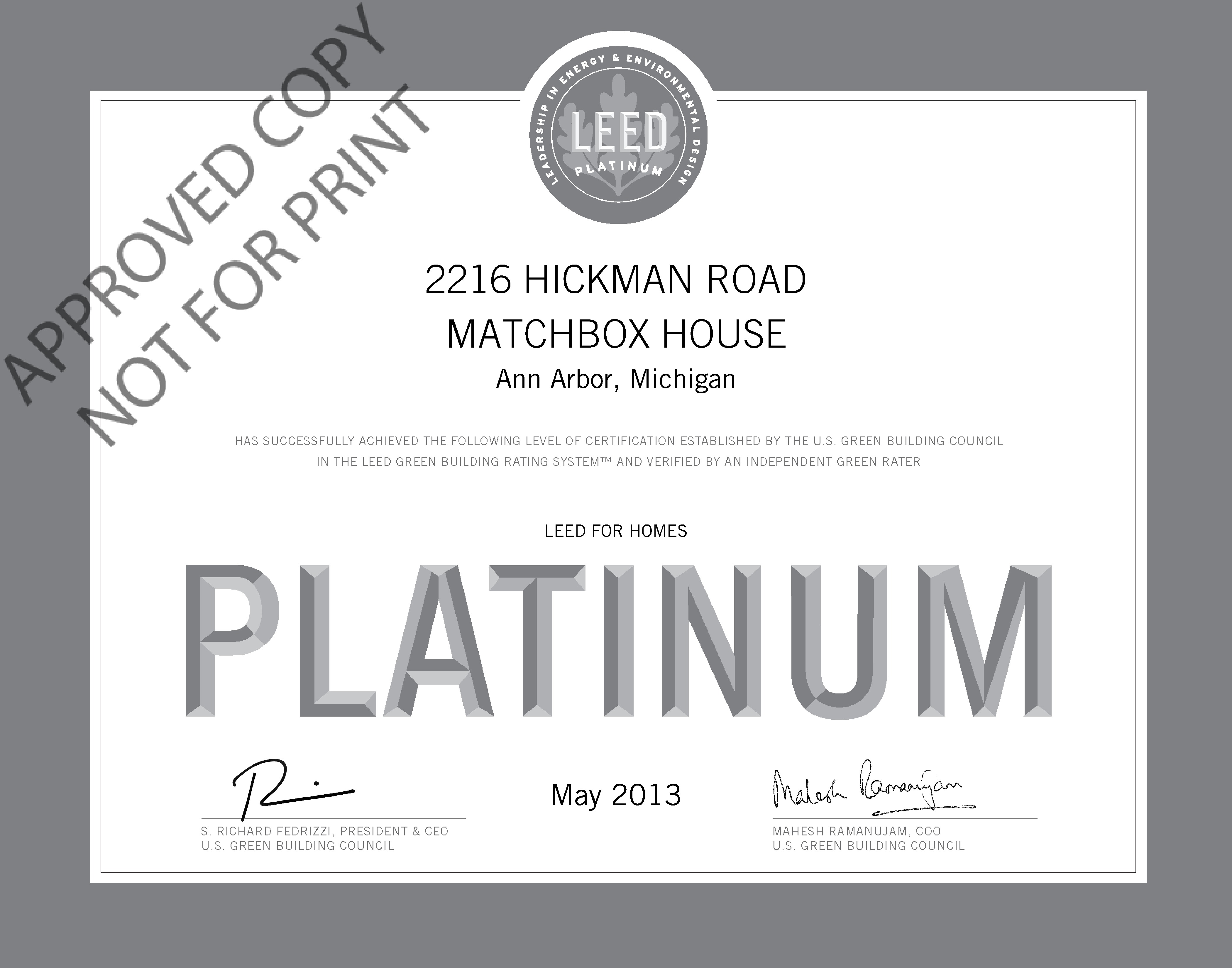 Leed platinum archives greenhome institute matchbox house certificate 1betcityfo Choice Image