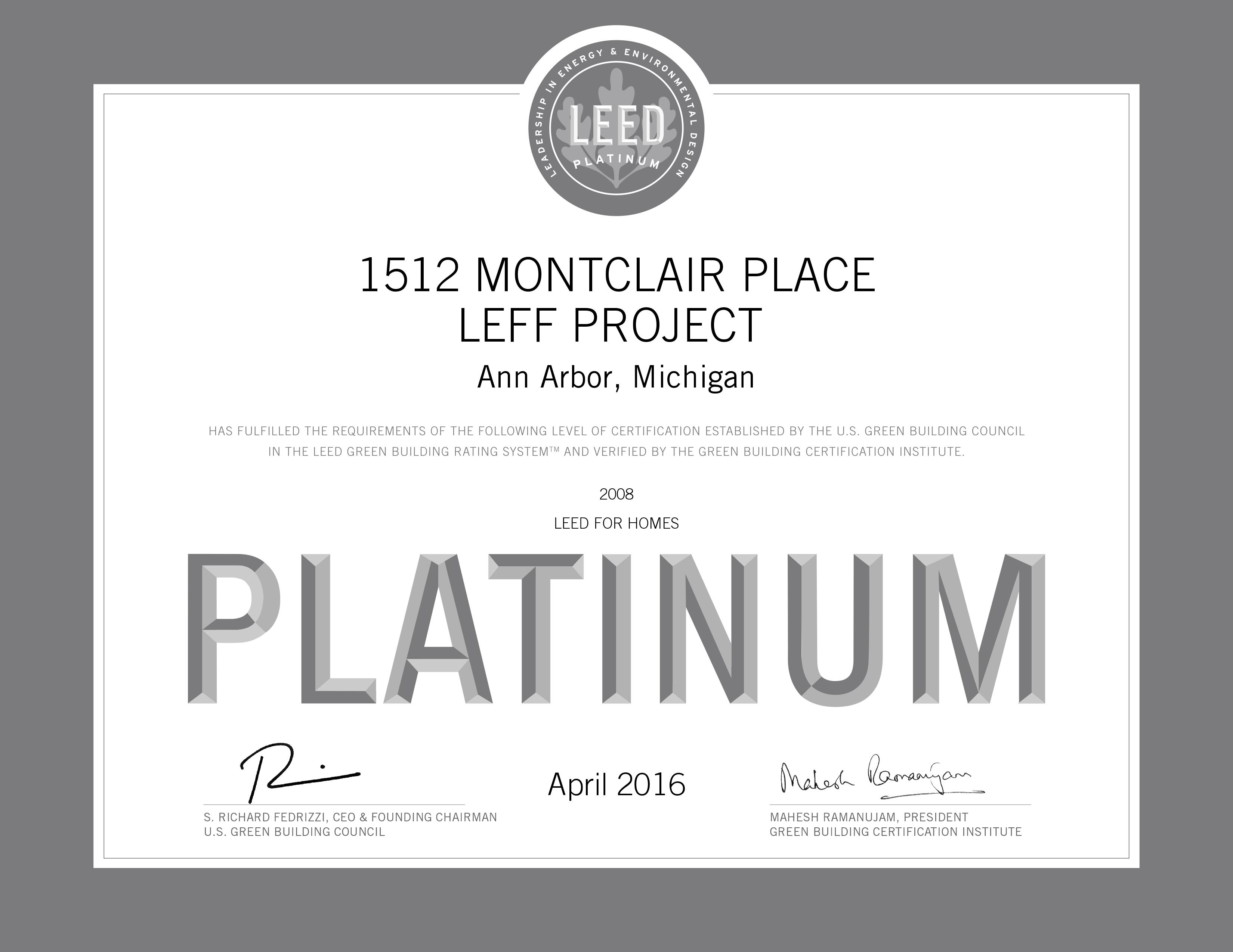 Related keywords suggestions for leed platinum 2016 for Leed platinum home