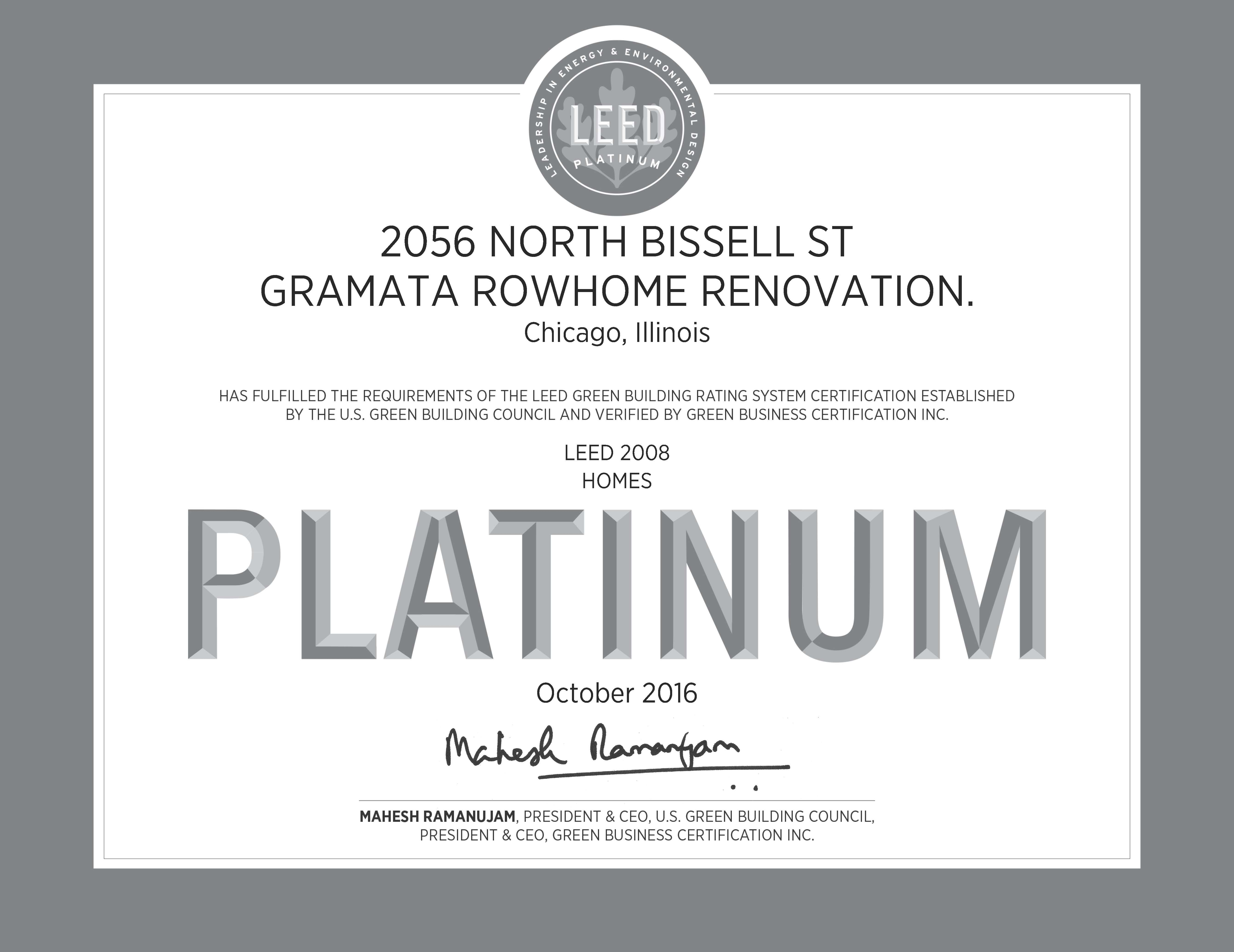 Gramata Rowhome Renovation Leed Platinum Single Family Greenhome