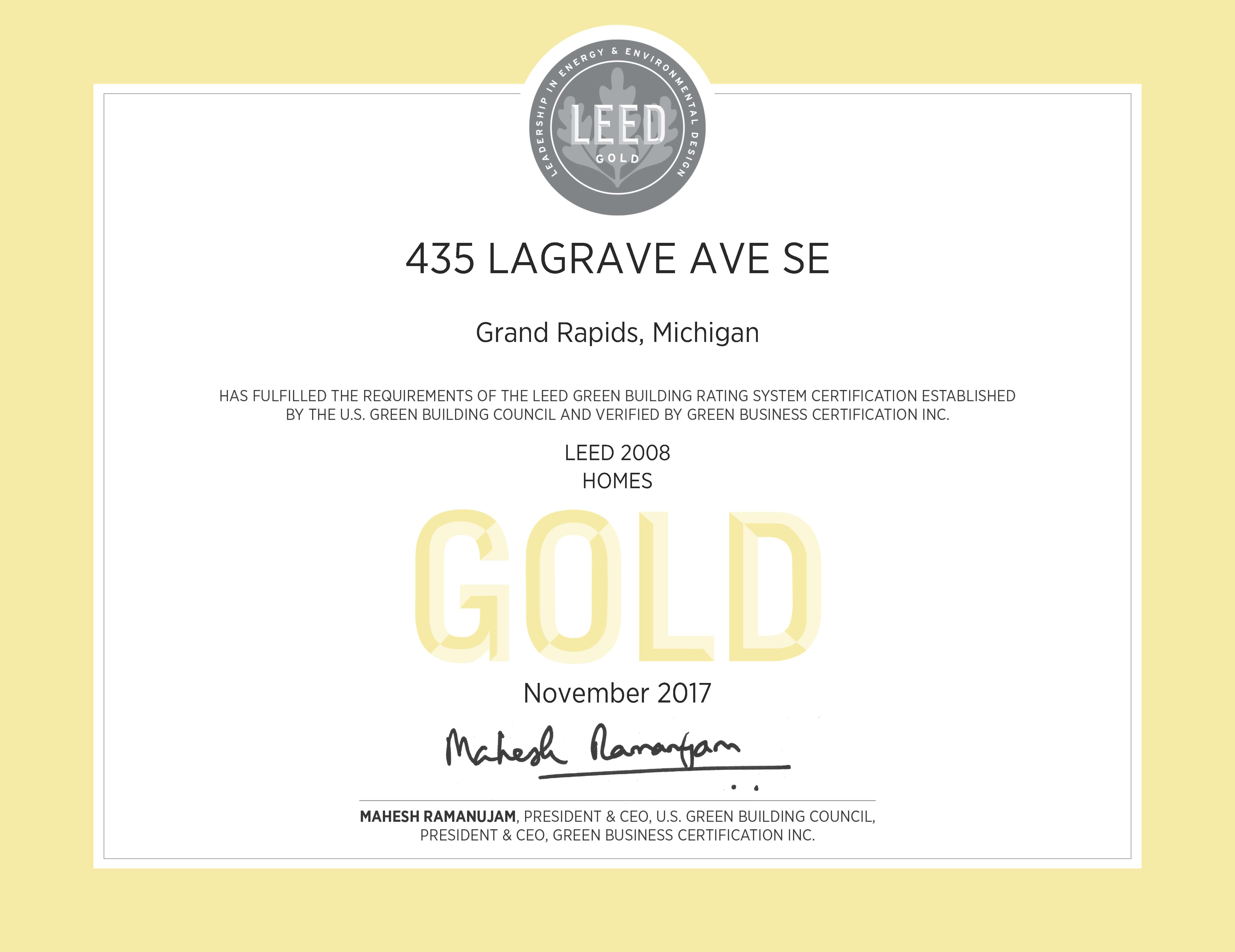435 lagrave apartments at tapestry square goes leed gold for Leed home certification