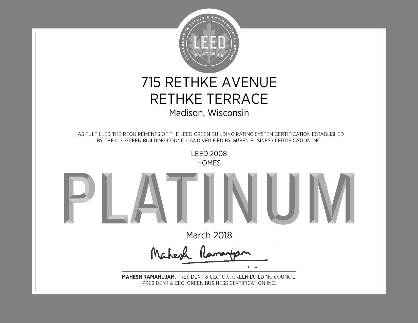 Rethke Terrace Gets Leed Platinum Certified Greenhome Institute
